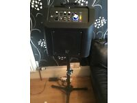 BUSKERS AMP, KARAOKE,RECHARGABLE, BLUETOOTH, PA SYSTEM WITH IPHONE DOCK & AUX IN, MIC,GUITAR, etc