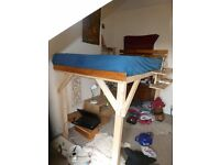 High Handmade Bed frame. And Small Double Mattress