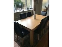 FOR SALE 6 Beautiful Black Real Leather Chairs & Beech Veneer Table