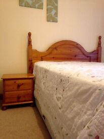Pine double headboard with cabinets