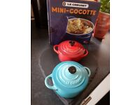 Le Cruset mini casserole dishes X 2 size 10cm 0.25l and six le cruset rainbow espresso mugs