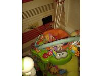 Baby playmat and jungle bouncer, crib and sterilizer
