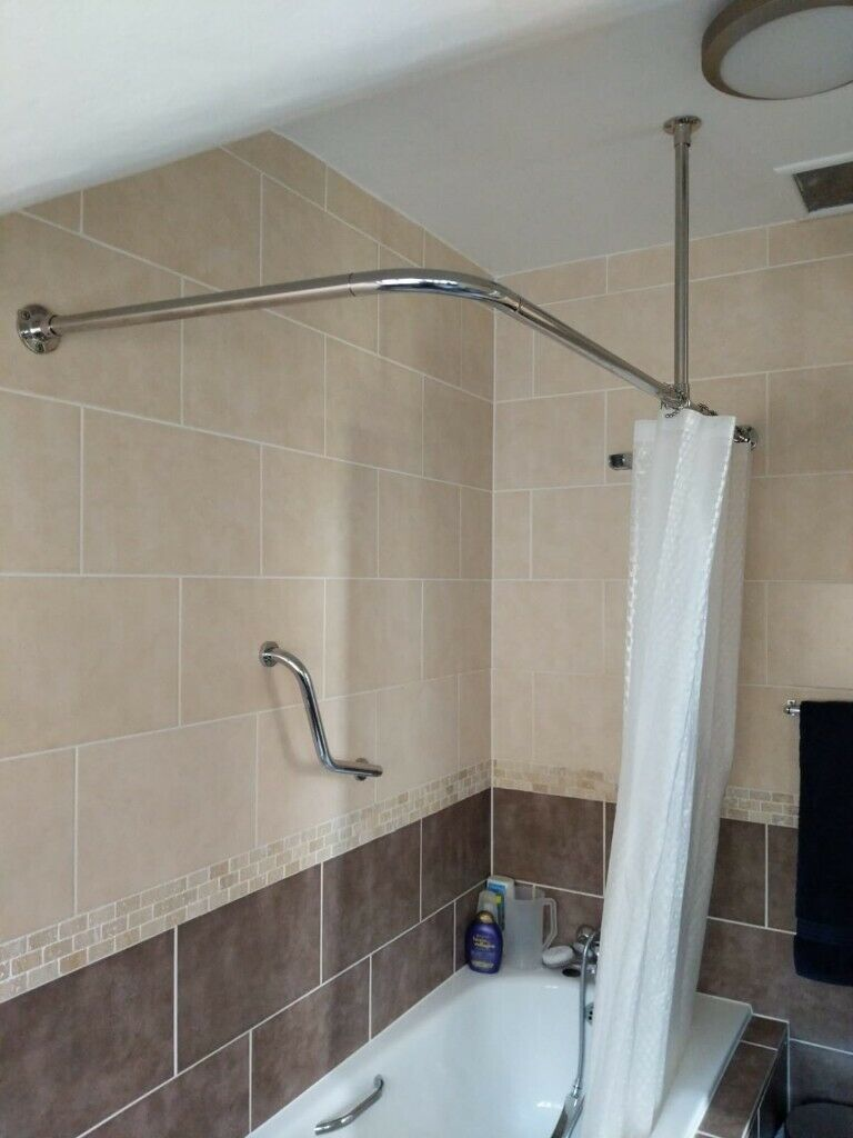 Stainless Steel Shower Curtain Rail Pole L Shaped With Ceiling Mount In Watford Hertfordshire Gumtree