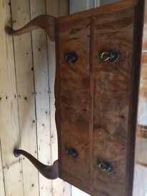 Antique Queen Anne matching walnut wardrobe & beautiful dressing table , 2 drawer with mirror