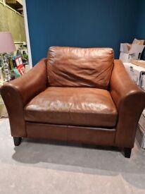 Stunning leather Laura Ashley snuggler chair