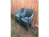 8 plastic chairs