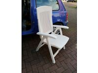 Garden chair, foldable, white, with adjustable back