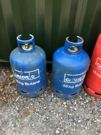 Calor butane gas bottle 15kg bottles x2
