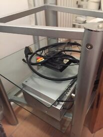 LOVELY GLASS CHROME TV AND DVD STAND - EXCELLENT CONDITION
