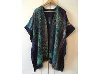 Beautiful Cashmere & silk Kimono-shawl + silk scarf set Jim Thompson Brand UNUSED