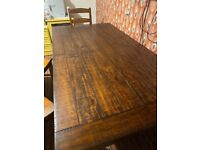 American hard wood table and chairs with bench