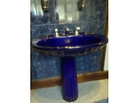 Unusual used high quality retro two tone Indigo blue bathroom suite
