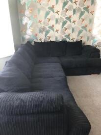 Large LHF Pillow Back Corner Sofa and Storage Footstool