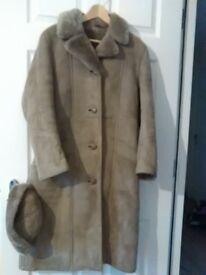 Genuine Ladies Sheepskin Coat and Hat.