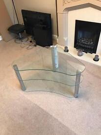 Glass & Chrome Corner TV Stand