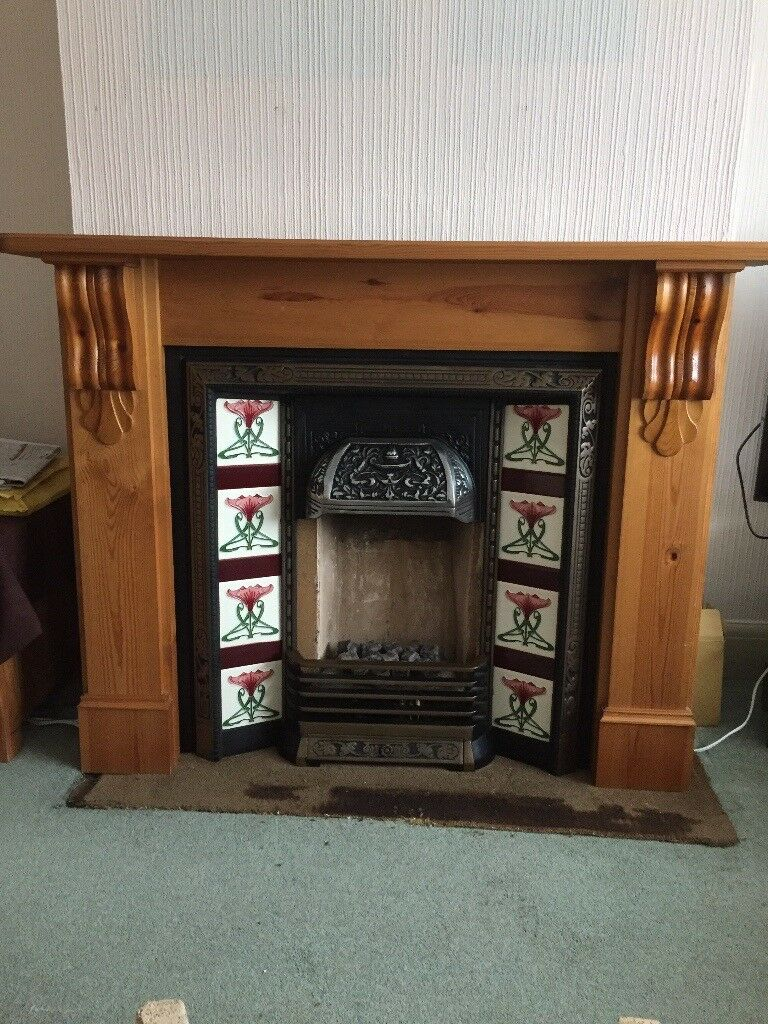 Wooden Fire Surround and Cast Iron Inset