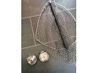 Trout fly reel and landing net