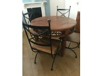 Solid Indian wood dining table & 4 chairs