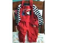 Disney baby nearly new Mickey Mouse red dungarees set 3-6 months