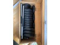 Adjustable dumbbells / barbell (like new) weights 50kg set