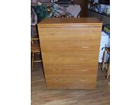 CHEST OF 5 DRAWS ON WHEELS EXCELLENT CONDITION FREE EDINBURGH DELIVERY