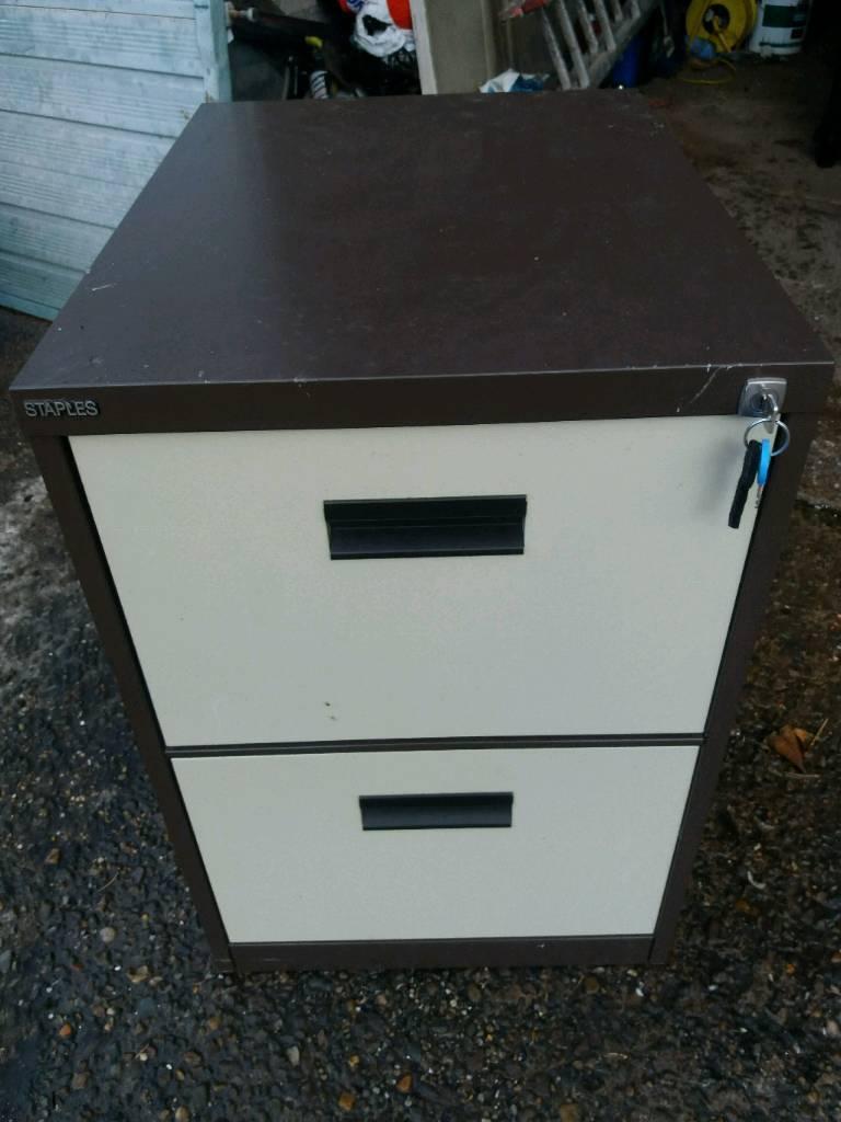 2 Drawer Staples Lockable Filing Cabinet In Burtonwood Cheshire