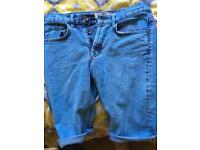 *Topman* blue wash denim shorts