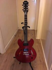 Epiphone studio dot guitar and amplifier with lead