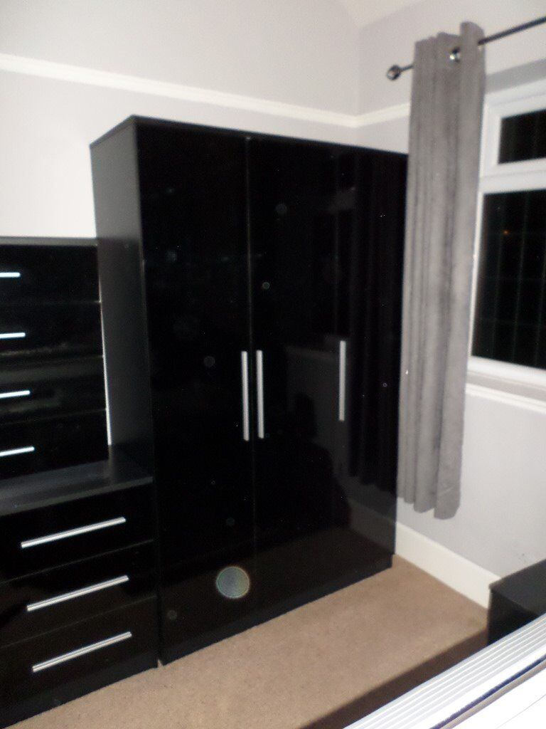 High Gloss Black Bedroom Suite (Wardrobe, chest of drawers, bedside  cabinets, etc) | in Bramley, West Yorkshire | Gumtree
