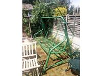 Garden Swing Bench Hammock, green metal, ready to collect