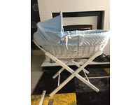 Baby Boy Moses Basket with stand