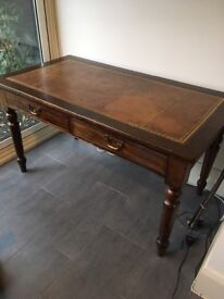 Antique wooden and leather writing desk