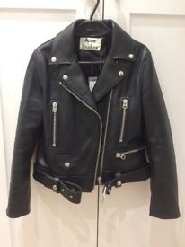 """ACNE leather jacket """"mock"""" black size 36 (UK8) brand new with tags"""