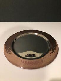 12x Copper Effect Charger Plates 33cm