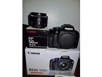Canon EOS 550D 18mp+ 18-200mm f/3.5-5.6 IS+ 50mm f1.8lens + yn flash, 3batteries +carry bag