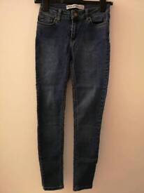 Super skinny deep blue high waist jeans.