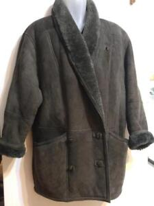 Oakville UNIQUE Womens Shearling Jacket Coat 100% Thick Sheepskin RETRO 80s M L Dolman Green Winter Warm Made in Canada