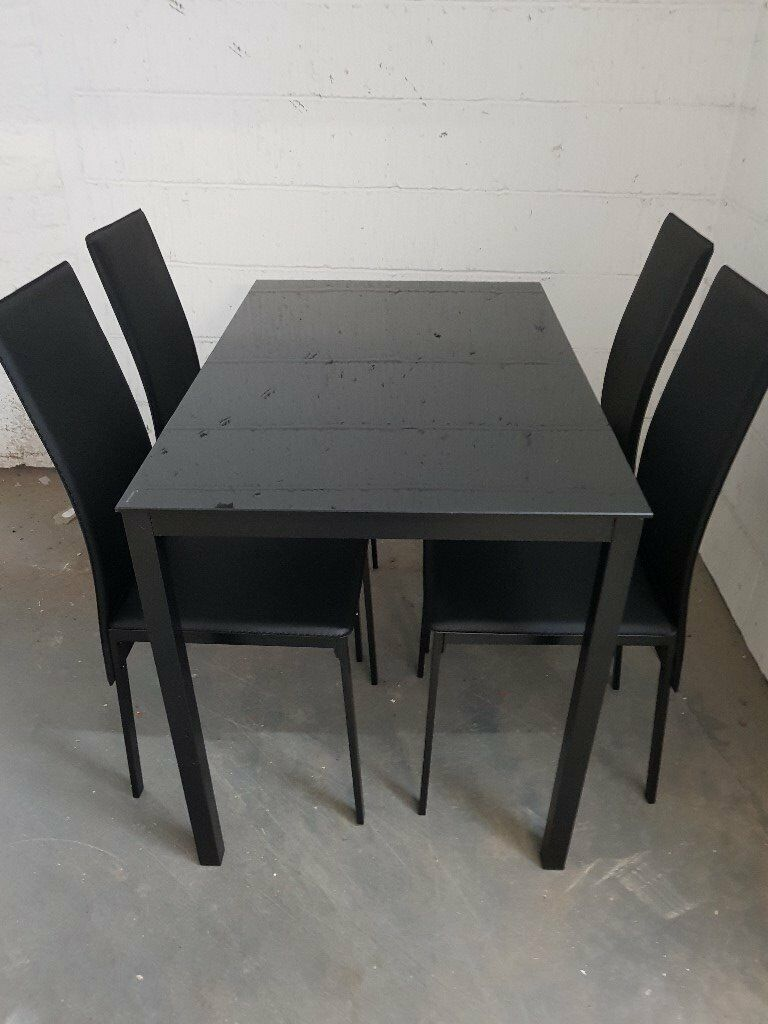 New ready assembled dining table 4 chairs