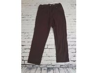 Perfect Casual - Pair Of Burgundy Plus Size 16 Straight Leg Womens Jeans by ETAM | Free Delivery
