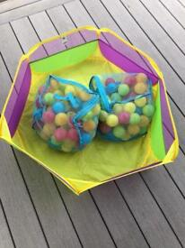 Ball pool & 2 bags of balls / Wooden toys / Toot Toot / swing / scooter / rocking horse