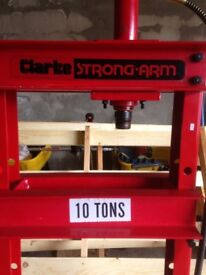 clarke ''strong arm'' 10 ton hydraulic press