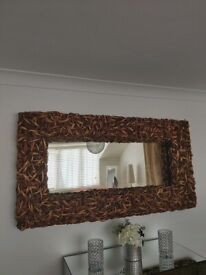 Large Mirror with Rattan Frame
