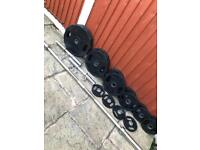Olympic Rubber Weights + Barbell + Dumbbells Set. •Can Deliver•