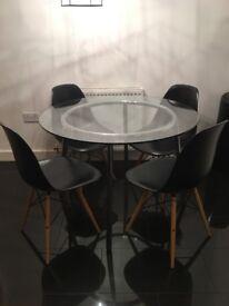Glass table with chrome legs/frame