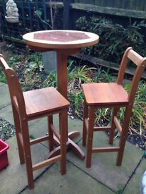 Tall stools and table