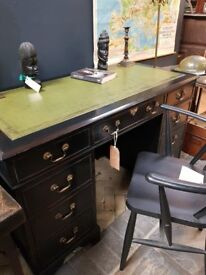 Reproduction desk with green leather top - japanned look