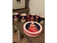 4 Christmas Mugs & 4 Side Plates