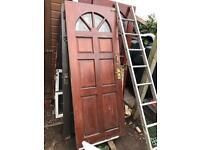 Quality Solid Mahogany Glazed Panelled Front Door Garage Shed Landlord Builder Developer