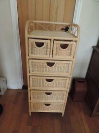 Wicker/Bamboo 6 Drawer Unit