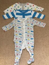 Set of 3 Sleepsuits age 9-12 months